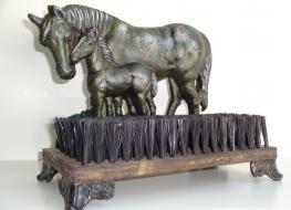 Horse doorstop & brush