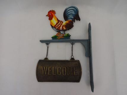 Cockerel welcome sign