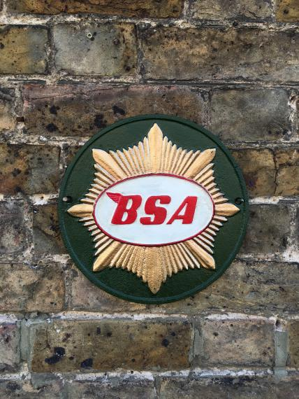 Green BSA motorcycle wall plaque