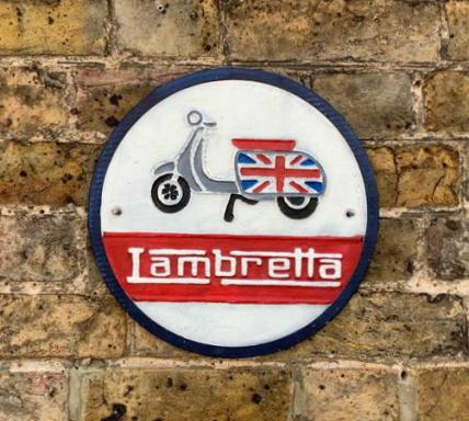 round Lambretta wall plaque