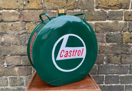 round Castrol fuel can -decorative