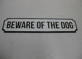37cms Beware of dog plaque