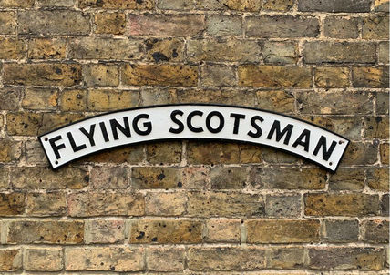 black & white Flying Scotsman plaque