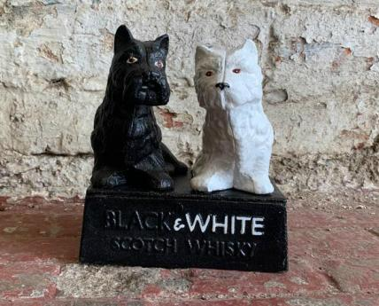 Black & white whiskey figure