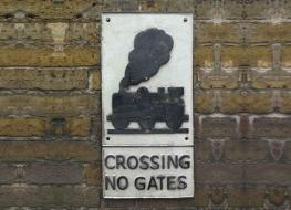 Level crossing train sign