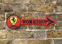 Ferrari workshop arrow plaque