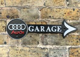 Audi garage arrow sign-white