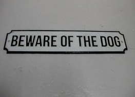 37cms Beware of dog plaque